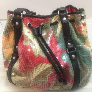 Sequin floral shoulder bag